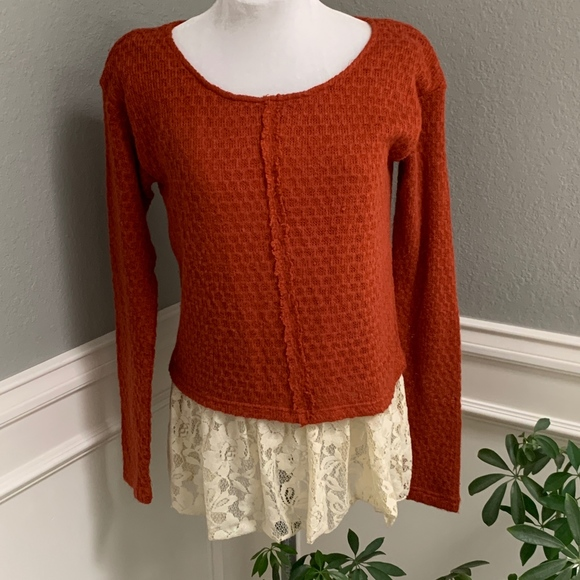 A'Reve Tops - A'Reve Knit Top w Raw Edge & Lace Trim Pullover